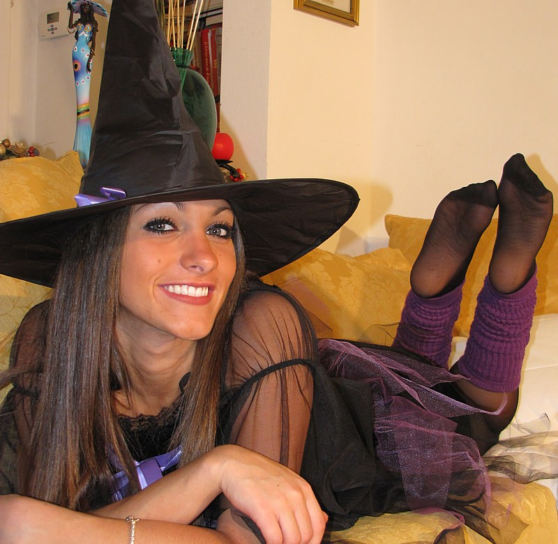 Beautiful Italian models showing off their feet while wearing costumes of all kinds